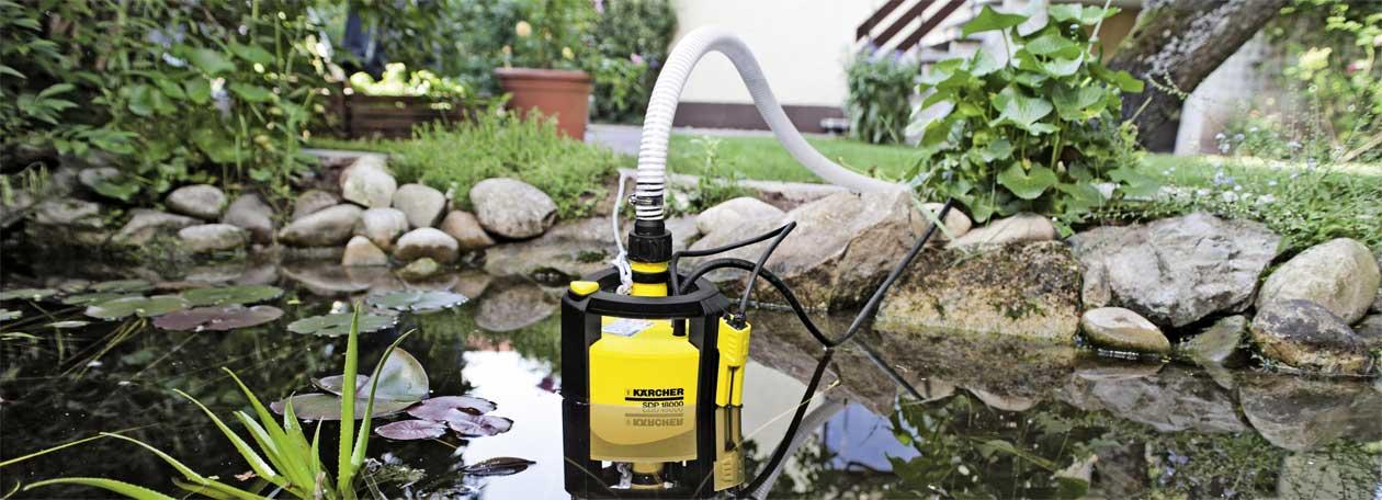 Kärcher Entwässerungspumpe im Gartenteich