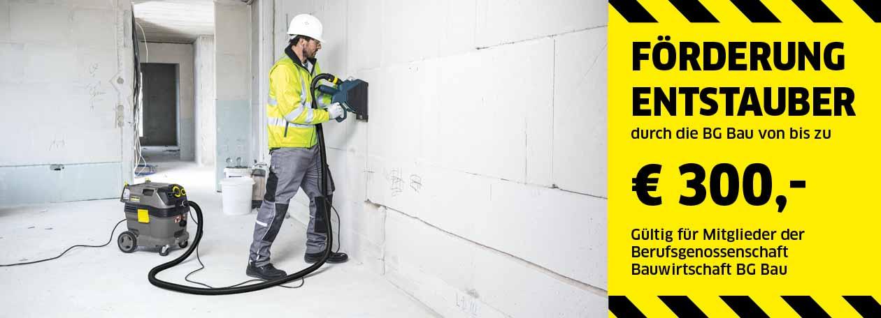 Aktion Bau-Entstauber | Bis 300 € Förderung der BG Bau